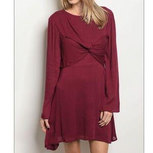 Cranberry long sleeve drape front detail dress